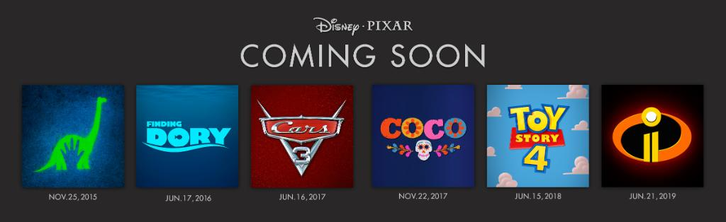 Release Dates for Disney Pixar Films