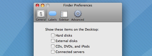 Finder's Preferences to Hide Drive Icons on the Desktop