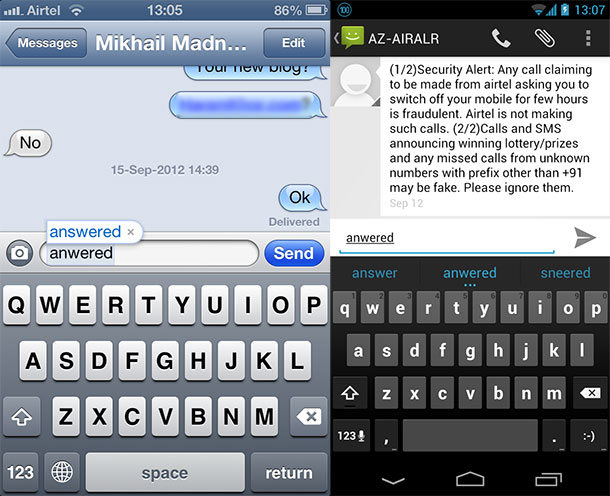 Spelling suggestion on iOS and Android Keyboards
