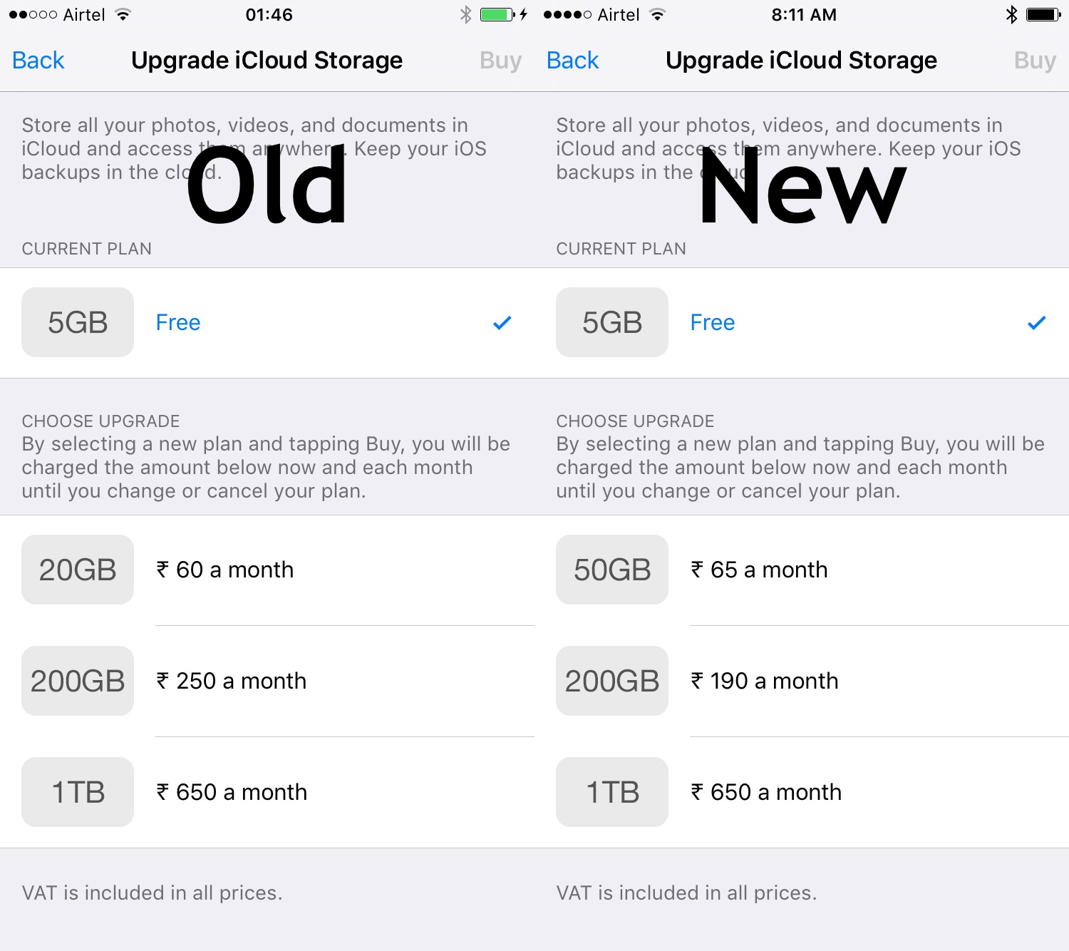 iCloud Storage Pricing for India